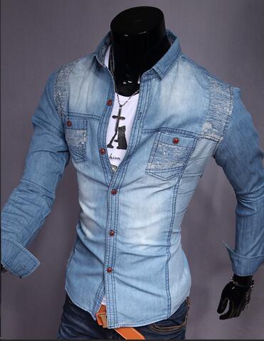 2017 Men'S Fashion Casual Washed Denim Shirt Low Sale T Shirt Long ...
