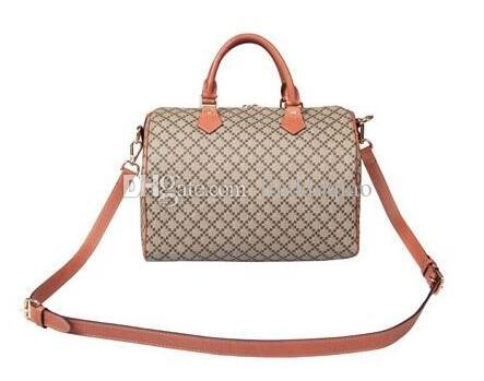 2016 luxury Brand Real oxidizing leather shopping Bag speedy Damier Handbag 25 30 35 with strap lock and key Classic Printed Canvas Bag