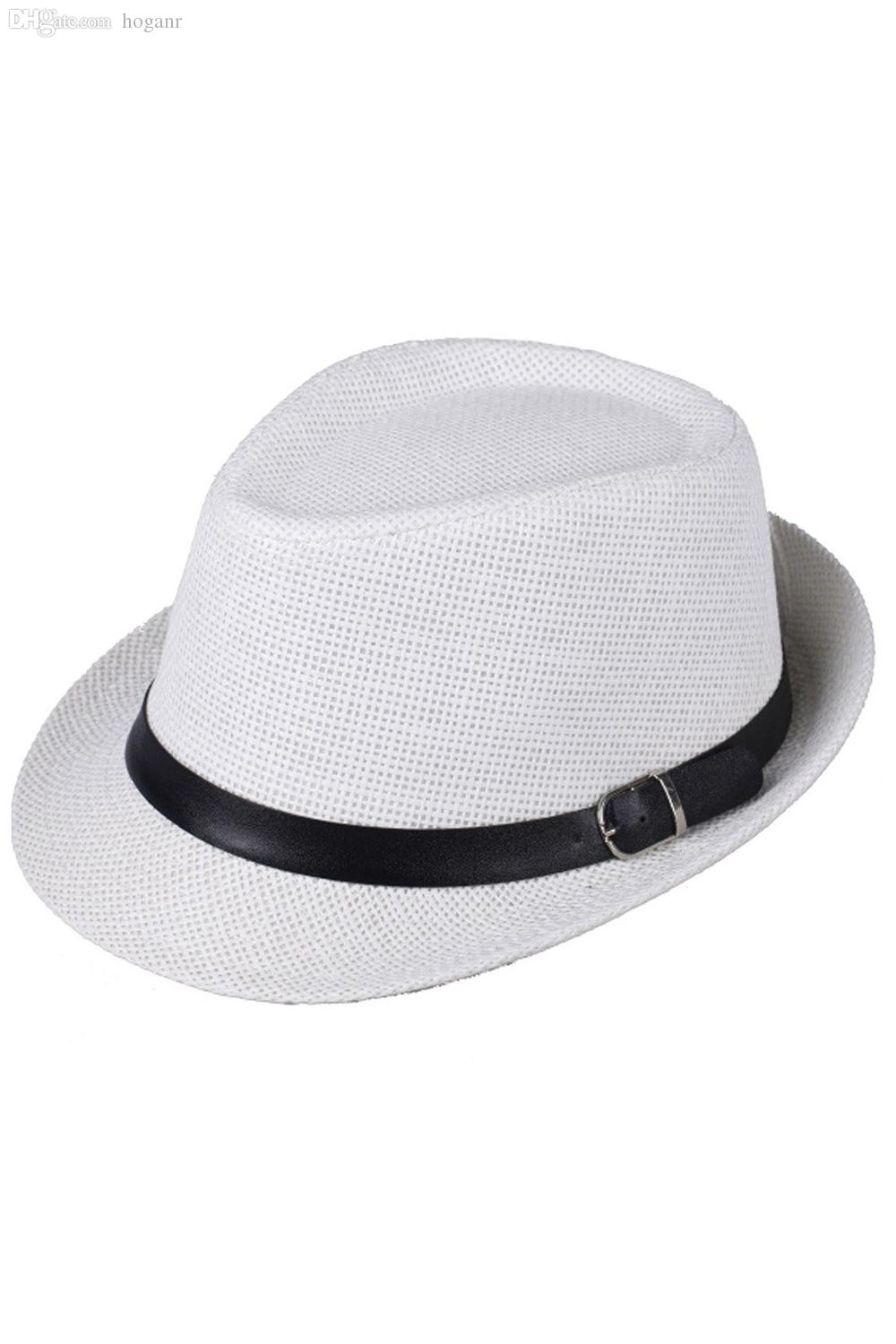 0fe718276 Wholesale-Hat Boys Fedoras Trilby Cap Straw Beach Sunhat with Belt White