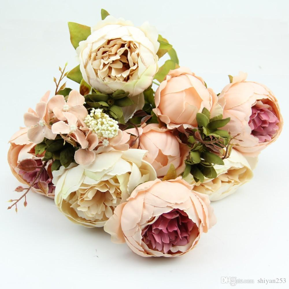 HIGHT Fiore di seta di qualità europea 1 Bouquet di fiori artificiali Autunno Vivid Peony Fake Leaf Wedding Home Decorazione del partito