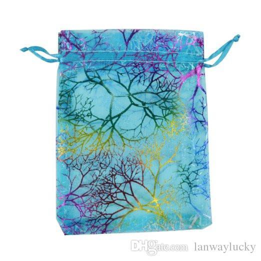 Coralline نمط الأزرق الأورجانزا الرباط مجوهرات الحقائب حفل زفاف لصالح تغليف الحلوى أكياس هدية مربع التفاف 9x12 سنتيمتر 3.5''x4.7 '' 100 قطعة