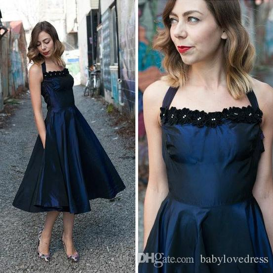 2018 new halter neck handmade flowers prom dresses tea length taffeta a line formal party gowns