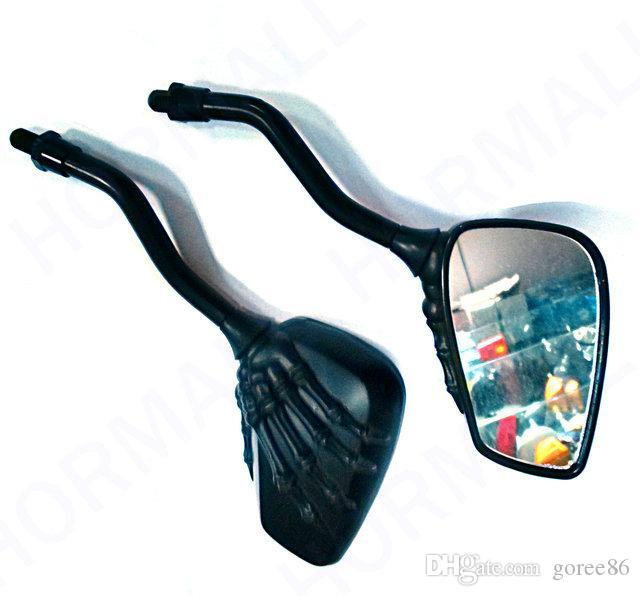 أسود مرآة دراجة نارية مرآة الرؤية الخلفية مرايا الرؤية الخلفية الكروم دراجة نارية الجمجمة مرآة 8MM