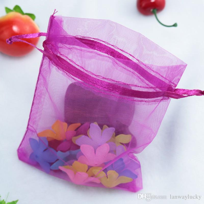 Solid Fuchsia Organza Drawstring Pouches Jewelry Party Small Wedding Favor Gift Bags Packaging Gift Candy Wrap Square 5 X7cm 2X2.75''