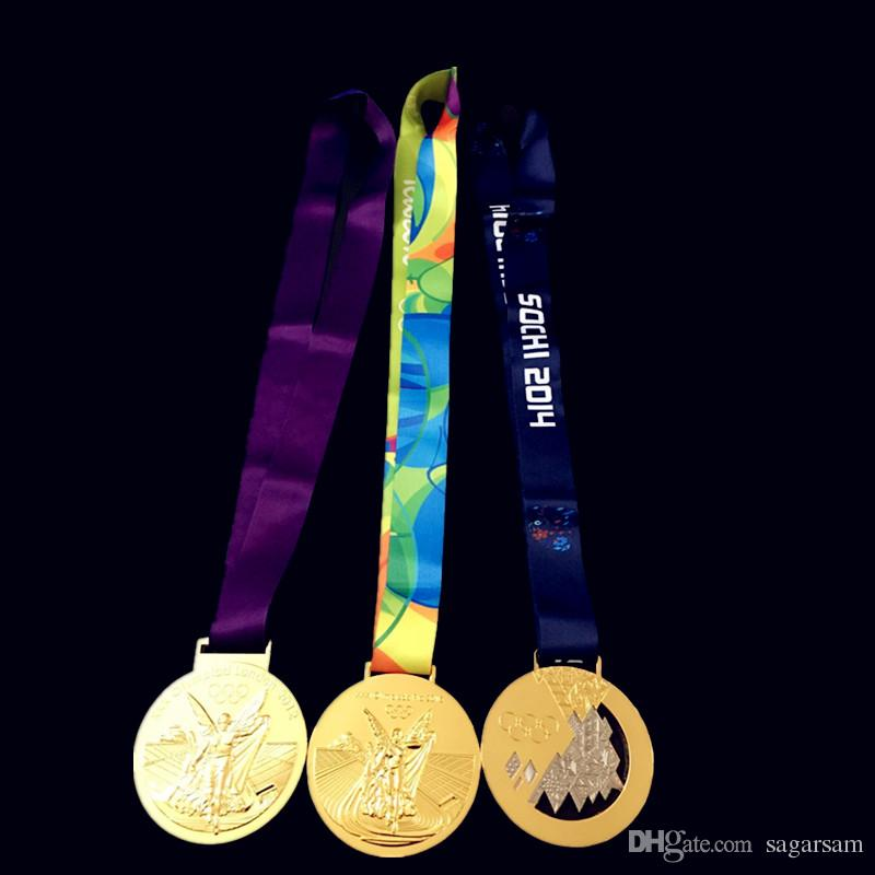 Mix. three designs Olympic Gold Medals 2012 London 2014 Sochi 2016 Rio badges with Ribbon Championship award for player
