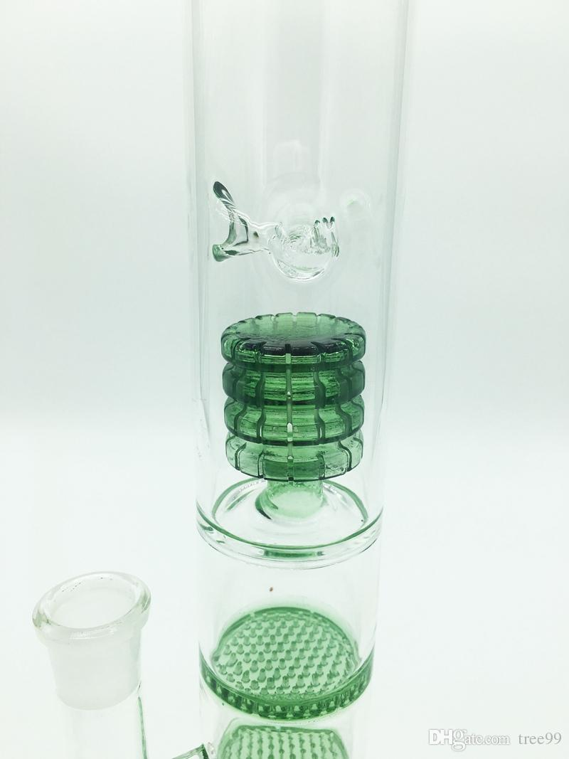 Glass Bong Water Smoke Pipe Glass Percolator Water Pipe Bong With Triple Honeycomb Disk Free Ash Catcher+2 Glass Bowls