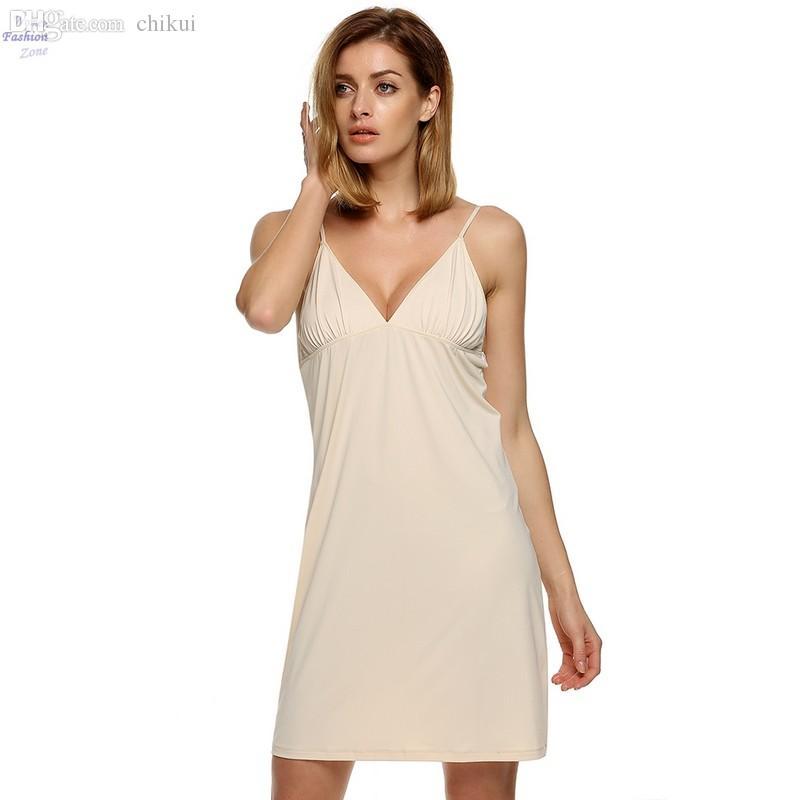 7bd372402 Wholesale-Plus Size Ice Silk Slip Woman Sleepwear Nightshirts Nightgowns  Nightdress Knee Length V-Neck Sleeveless Nightwear Pyjamas 10