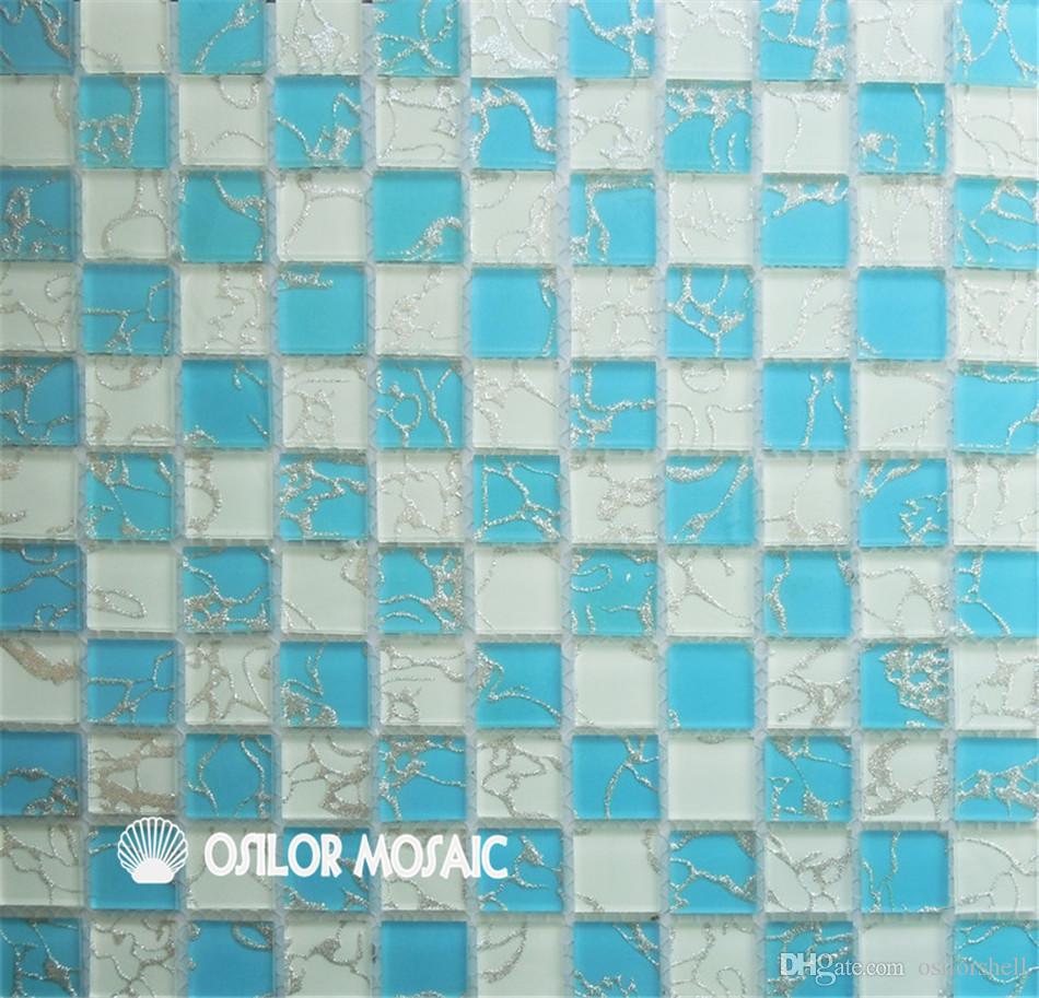 Acheter Carreaux De Mosaïque De Cristal Et De Verre Blanc Et Bleu Pour  Salle De Bain Et Cuisine Carrelage Mural De Piscine 25x25mm 4 Mètres Carrés  Par ...