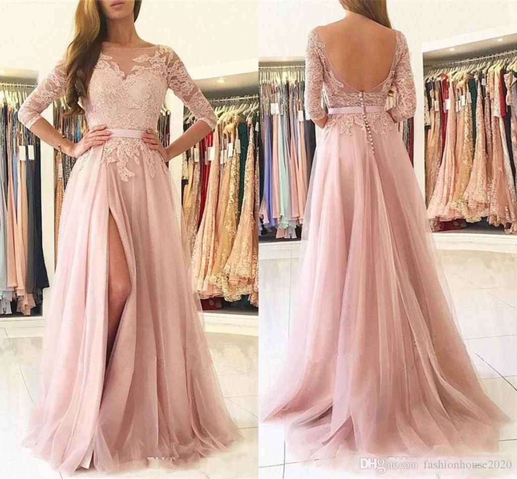 2017 Sexy Blush Pink Prom Dresses Jewel Neck Long Sleeves Open Back Lace  Appliques Split Tulle Plus Size Party Dress Formal Evening Gowns Plus Size  Dresses ... d6e442e73846