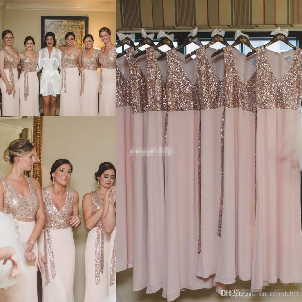 Elegant custom made long bridesmaid dresses pink chiffon rose gold dresses pink chiffon rose gold sequins with sash sheath 2017 cheap wedding guest dress gowns for party informal bridesmaid dresses little girls ombrellifo Image collections