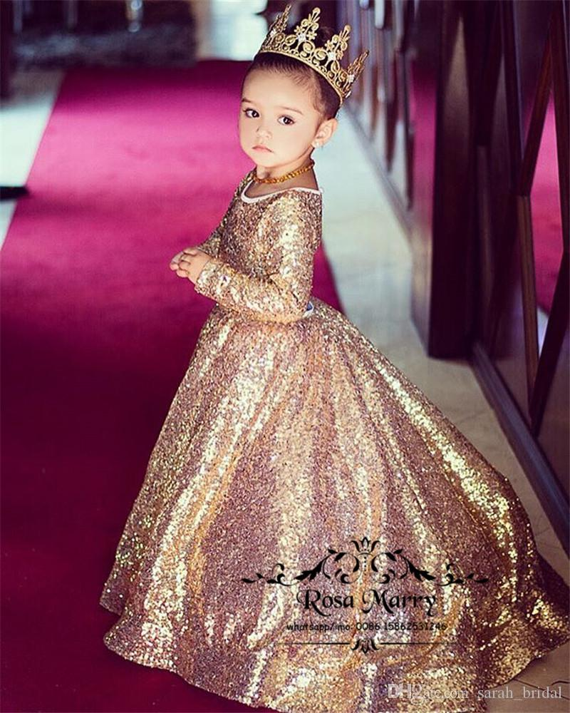 Lovely Gold Sequined Ball Gown Flower Girls Dresses 2020 Long Sleeves Keyhole Plus Size Cheap Cinderella Pageant Birthday Prom Party Gowns