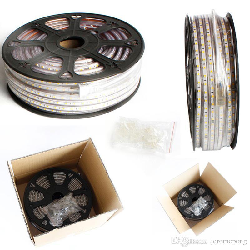 Luz de tira impermeável 60LEDs / M do diodo emissor de luz da CA SMD5050 da CA 50M 110V 220V sem a FONTE de ALIMENTAÇÃO Cuttable em 1Meter
