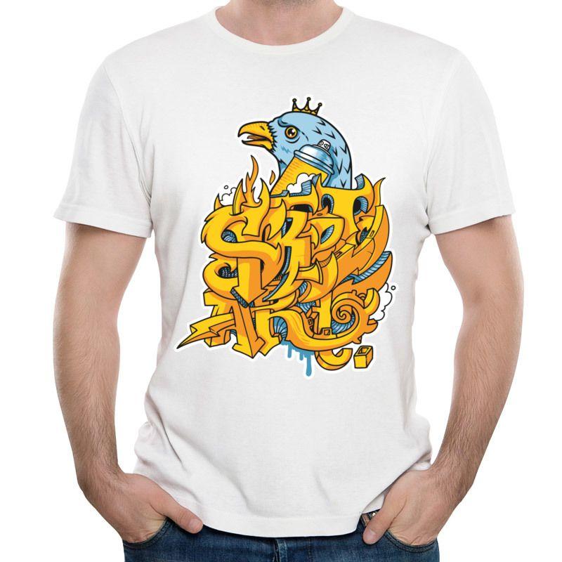 Eagle print man t shirt black cotton t-shirt men new stylish design shirts short-sleeved tees crew neck for boys King Bird Street Art.