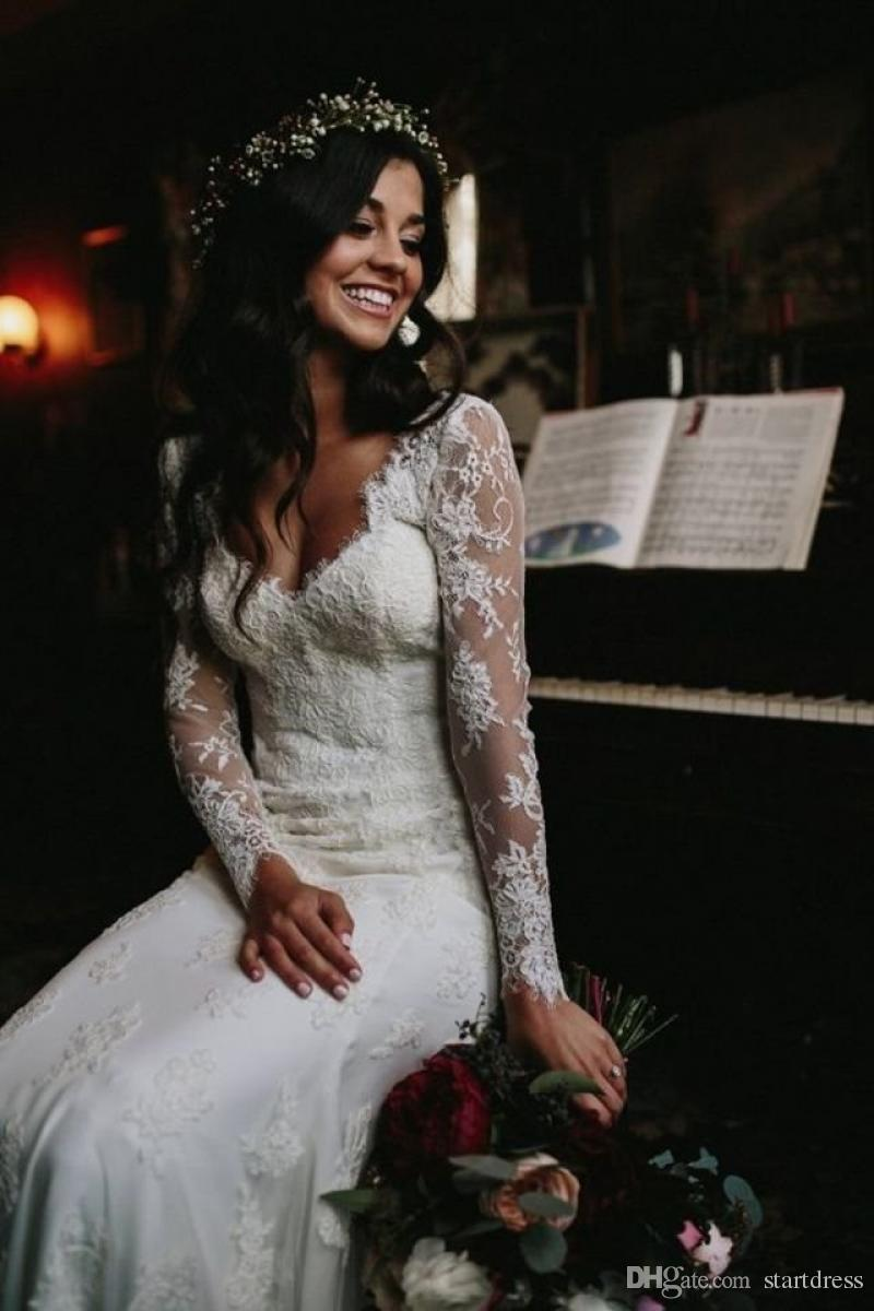 Elegant Cheap Country Full Lace Wedding Dresses Plugging V Neck Long Sleeve Applique Floral Beach Bridal Gowns 2018 berta bridal Designer