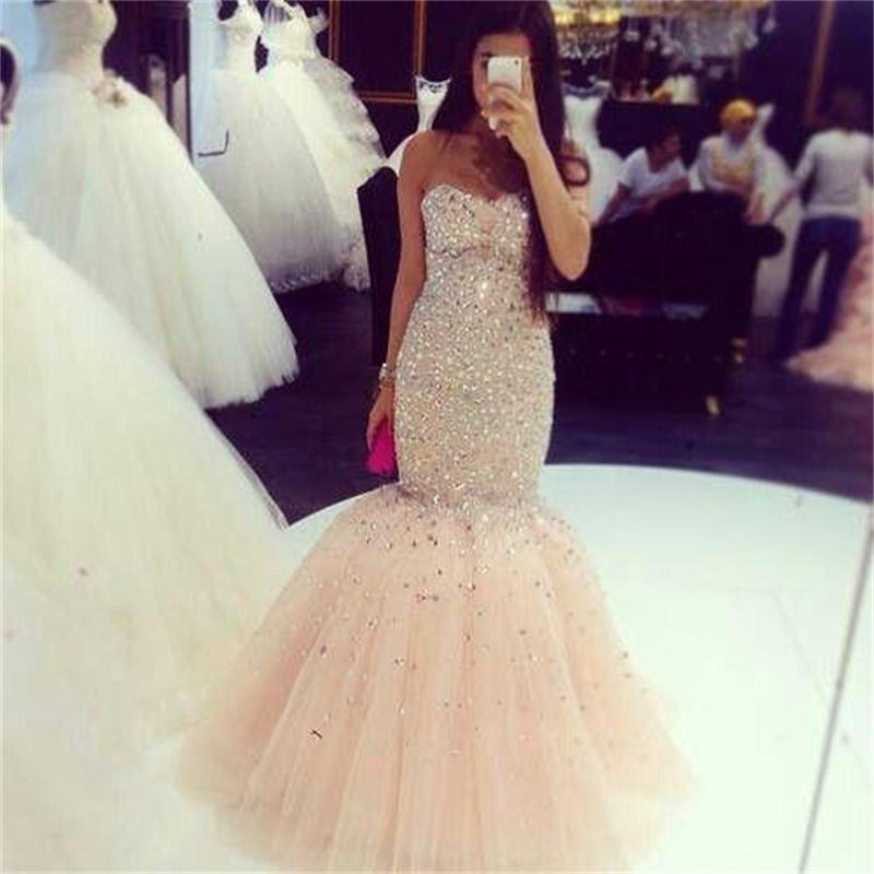 2016 Champagne Prom Dresses Mermaid Bling Bling Crystal Sweetheart ...