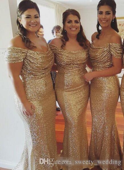 Sparkly Gold Sequined Mermaid Long Bridesmaid Dresses for Wedding Off the Shoulder Cap Sleeve 2016 Plus Size Evening Gowns Formal Guest Wear