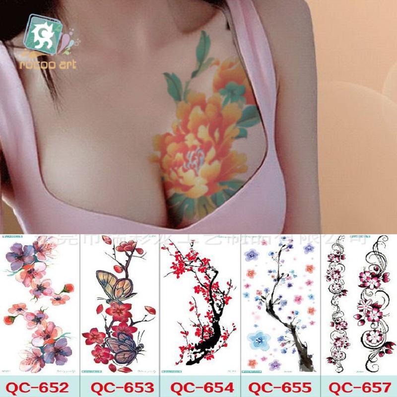 YENI 21 * 10 cm Geçici sahte dövmeler Su Geçirmez dövme çıkartma vücut sanatı Boyama parti dekorasyon vb için karışık çiçek gül erik çiçeği