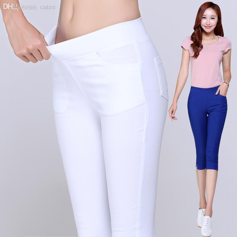 acc30967617 2019 Wholesale 2016 Summer Style Candy Color Capri Pants Women Thin Summer  Pants Ladies High Waist Elastic Plus Size Pants From Cutee