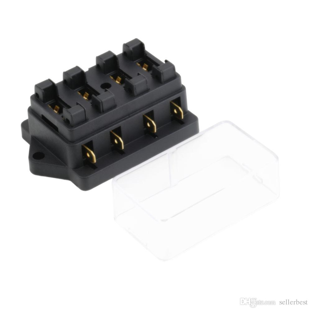 Caja de fusibles de 4 vías CC 12V 24V Circuito DC 32V Máx. De remolque Automóvil de cuchillas Caja de fusibles Soporte del bloque ATC ATO Cable de 2 entradas 4 salidas