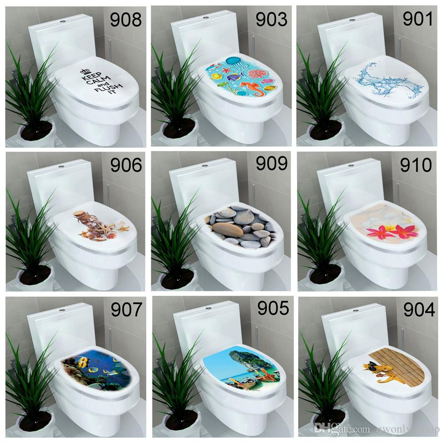 Bathroom flowers decor - Animals Flowers Pebbles Underwater World Toilet Sticker Bathroom Wall Stickers Home Decoration Wall Decals Mixed 20 Styles Stickers For Wall Decor Stickers