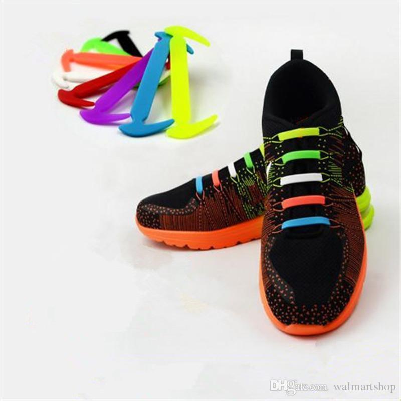 c32019995f8a 2019 Creative Lazy Shoe Laces Colorful Silicone Shoelaces Sickle Style No  Tie Elastic Lacing Plastic Shoe Lace Acc281 From Walmartshop