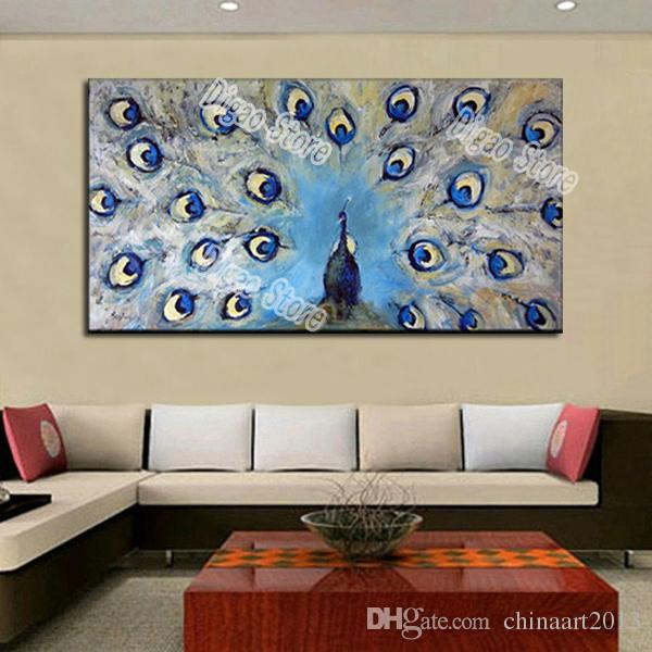Blue peacock pure hand painted animal abstract oil painting on canvas modern wall art painting for living room home decoration