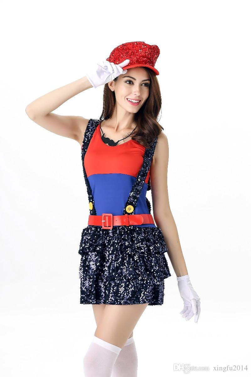 Adult Women Sequin Mario Costumes 2017 Halloween Costume Cosplay Roleplay Stage Party Role Playing Mary Game Uniforms Sexy Cos