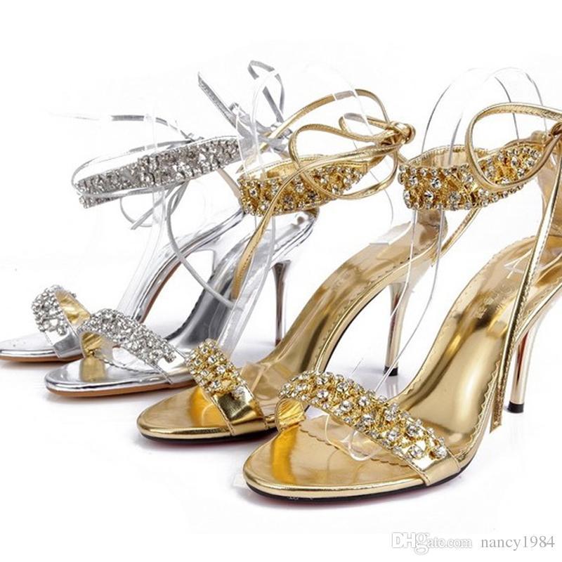 Sexy scarpe estive argento tacco alto moda donna sandali strass scarpe da ballo feste / scarpe da sposa scarpe da sposa