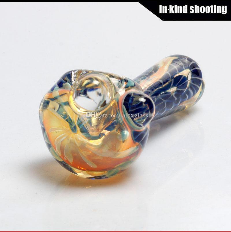 Glaspfeife Farbwechsel Großhandel Tasche Shisha Glasrohre für das Rauchen freies Verschiffen Tabak Hand berauschenden Löffel Rohr