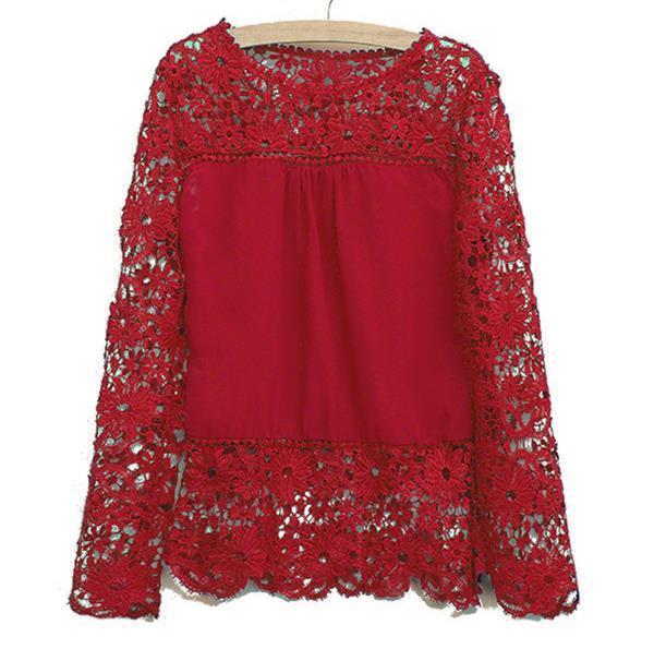 2016 spitzenblusen hemden schulter langärmelige chiffonhemd blusen hohle Crochet flowerFrauen Kleidung Plus größe