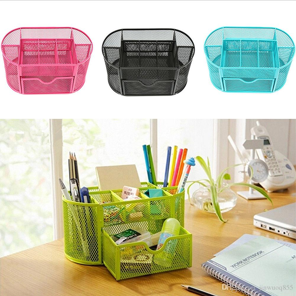 2018 Desk Organizer Pen Holder Multifuction 9 Cells Metal Black Mesh Desktop Office Pencil Red Blue Green From Jinwuoq855