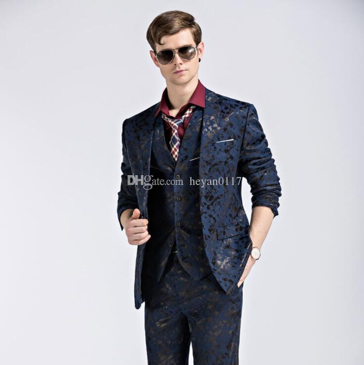 Blazer+Pants+Vest Fashion Men's Suit Shine Patterns Luxury Casual Men Stage Clothing Vintage Mens Suits Wedding Groom S-3XL