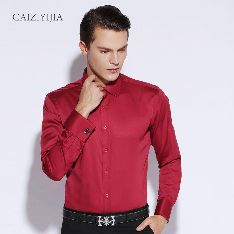 2018 2016 New Mens Dress Shirt French Cuff Tailored Slim