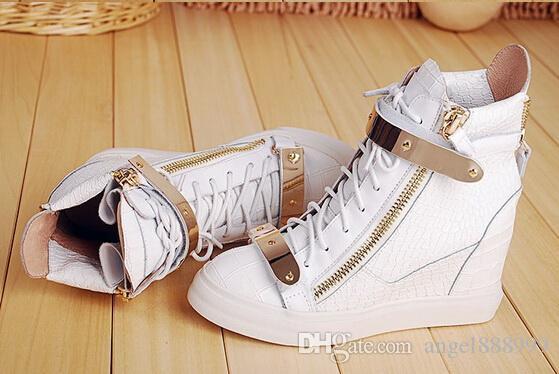 Hot Brand Donna Casual Zeppe Platform High Top Sneakers Bianco / nero Stone Pattern All'interno delle scarpe più alte Double iron Zipper Lace up Boots
