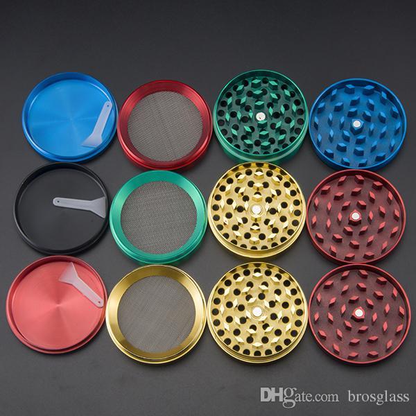 DHL Top quality colorato 52 * 35mm 4 Parti In Lega di Zinco Herb Grinder Fumatori Herbal Smerigliatrici 4 parti Chromium Crusher smerigliatrice colorata