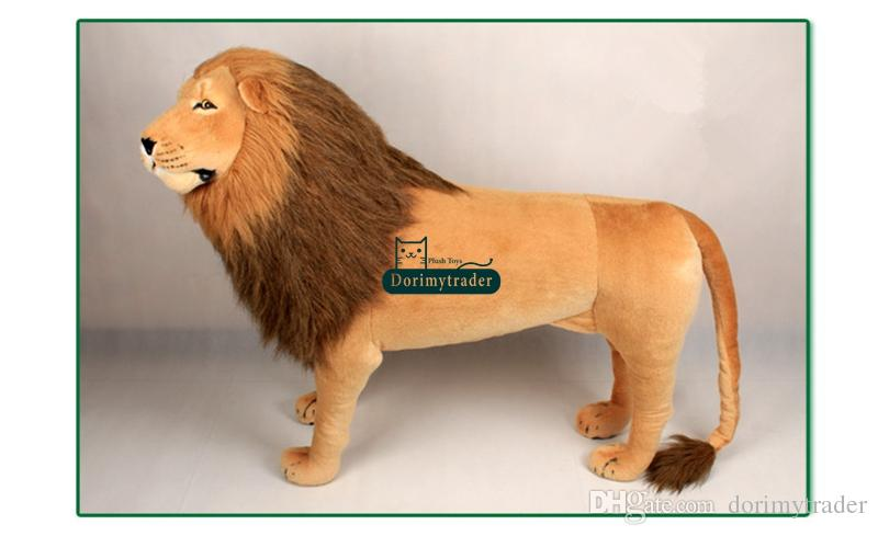 Dorimytrader 43'' / 110cm Domineering Large Stuffed Soft Plush Simulated Animal Lion Toy Great Gift Photography Props DY60768