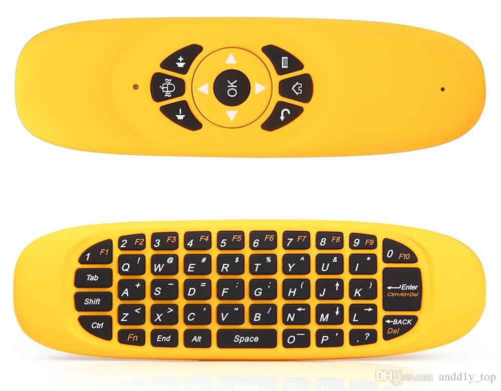 Gyroscope Fly Air Mouse C120 Wireless Game Keyboard لوحة تحكم عن بعد تعمل بنظام Android قابلة للشحن لأجهزة الكمبيوتر الذكية TV
