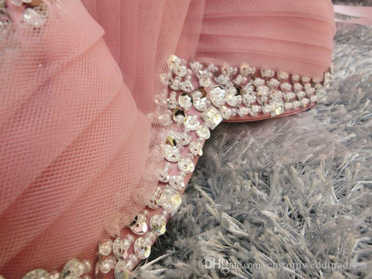 vraies photos Après peu de temps avant longues robes de bal sexy 2018 nouveau design chaud personnalisé chérie perlant tulle robe de soirée à plusieurs niveaux