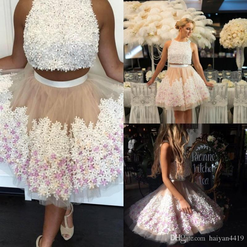 0e2677826f 2017 New Sexy Two Pieces Homecoming Dresses Jewel Neck Nude Tulle White  Flowers Beaded Short Mini Party Graduation Plus Size Cocktail Gowns Stores  With ...