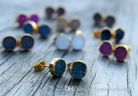 watches product gemstone jewelry vermeil druzy round rose earring gold stud gemsbaby quartz