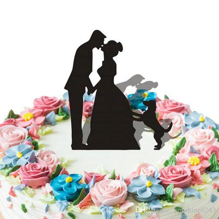 Kissed Bride and Groom Wedding Cake Topper With Dog Black Color Cake Decorations Unique Wedding Supplies