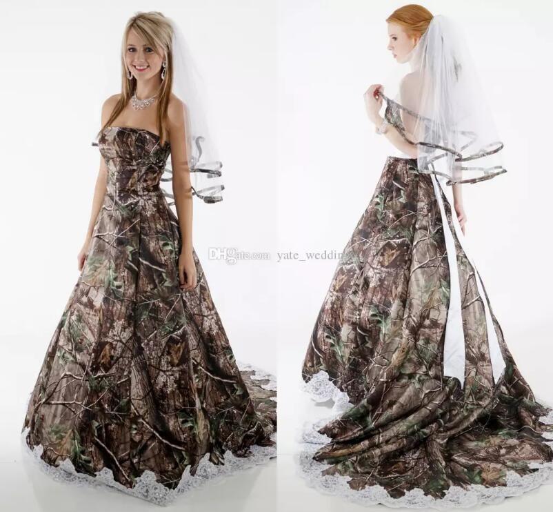 Elegant Camo Wedding Dresses Strapless Appliques Fluffy Ball Gown ...