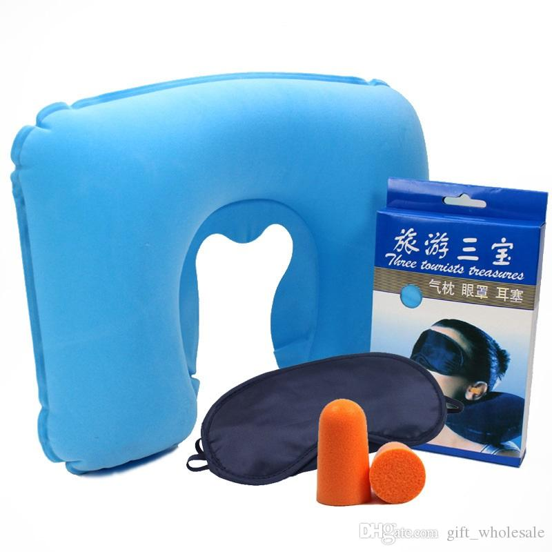 With Box Package 3 in 1 Outdoor Camping Car Airplane Travel Kit Inflatable Neck Pillow Cushion Support+Eye Shade Mask Blinder+Ear Plugs