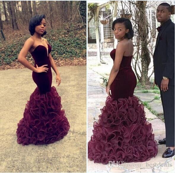2016 Sexy Burgundy Sweetheart Ruffles Organza Skirt Mermaid Evening Dresses Slim Fitted Formal Prom Gowns Women Party Dresses Pageant Gowns