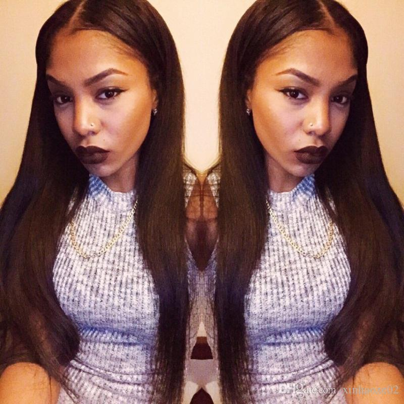 Natural looking human hair wig silk straight full lace wig long black Brazilian hair high ponytail straight lace front wig