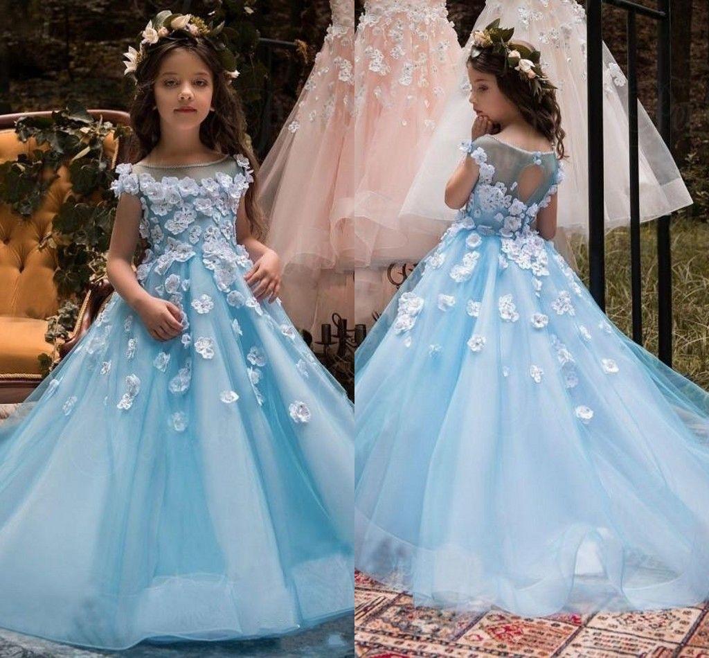 2017 Flower Girls Dresses Weddings Jewel Neck Illusion Lace ...