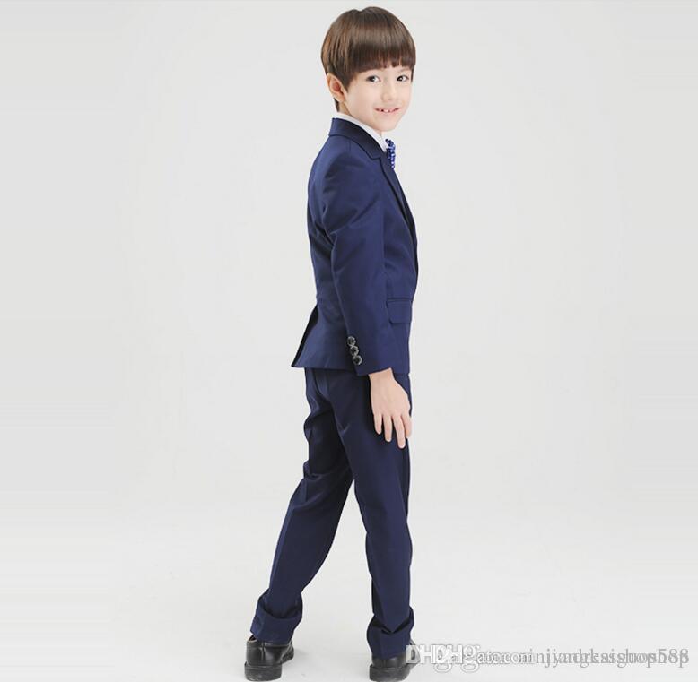 Hermoso traje de niño traje de niño azul de tres piezas para ocasiones formales de corte ajustado dos granos de botones de traje chaqueta + pantalones + chaleco