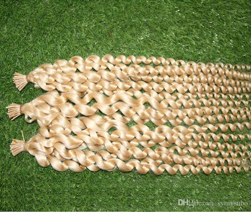 Пре скрепленные толстые расширения 100С человеческих волос я-подсказки / блонд волос отбеливателя сумки бразильские горячие продавая волну сплавливания кератина капсулы свободную