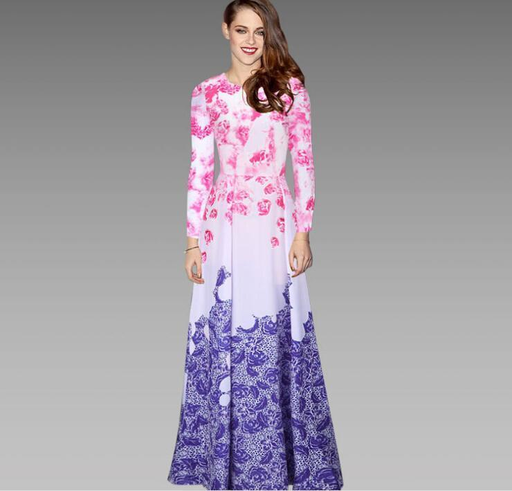 00bf98344d0 2019 Nice Chiffon Long Sleeve Long Maxi Dresses For Womens Fall Clothes  Round Neck Floral Printed Dresses Plus Size Casual Women Runway Dress XXL  From ...
