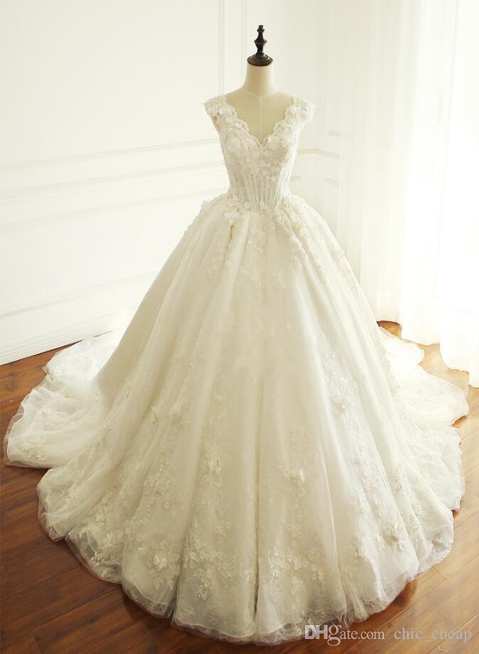 Discount Lace V Neck Applique Sweep Train A Line Vintage Wedding ...